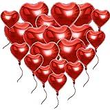 AONER Kit da 20 pz Palloncini di Cuore Rosso con Corde Decorazione Festa San Valentino Matrimonio Fidanzamento Battesimo Compleanno (10*Grandi+10*Piccoli)
