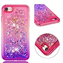 for iphone 7/iphone 8 Case Glitter Liquid and Screen Protector,Gradient Colors Design Shiny Diamond Frame Clear Slim Fit Protective Phone Case,QFFUN Bling Sparkle Floating Quicksand Back Cover Shockproof Anti-Scratch Soft TPU Bumper - Pink and Purple