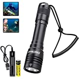 HECLOUD IPX8 Water-Resistant Waterproof Flashlight Professional Scuba Diving Light with Rechargeable Battery and USB…