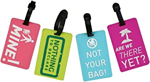Coolrunner 4pcs Candy Color Luggage Label Travel Accessories Suitcase Luggage Tags ID Address Holder Silicone Identifier Label (Candy Color)