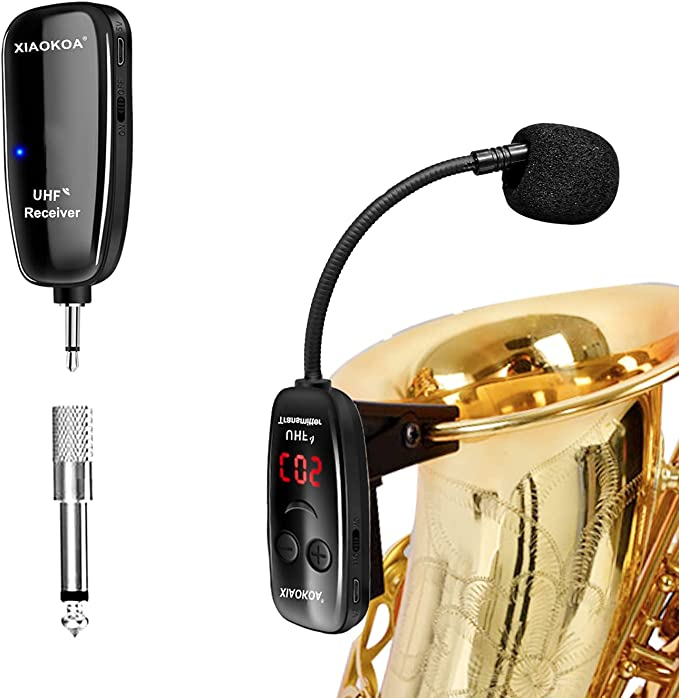 XIAOKOA UHF Wireless Instruments Microphone,Saxophone Microphone,Wireless Receiver and Transmitter,160ft Range,Plug and Play,Great for Trumpets, Clarinet, Cello