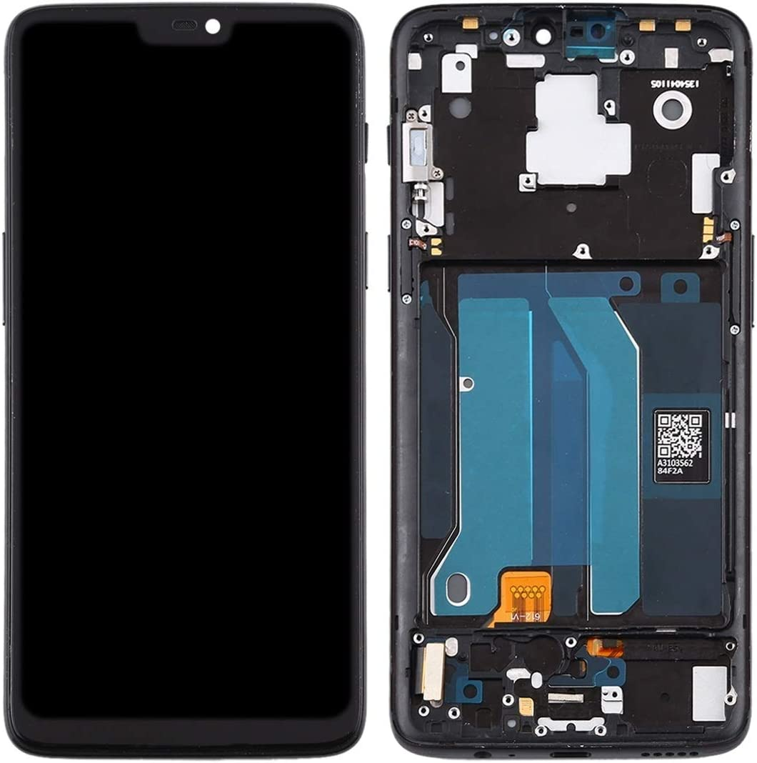 CAOMING TFT Material LCD Screen and Digitizer Full Assembly with Frame for OnePlus 6 A6000 Durable Color : Black