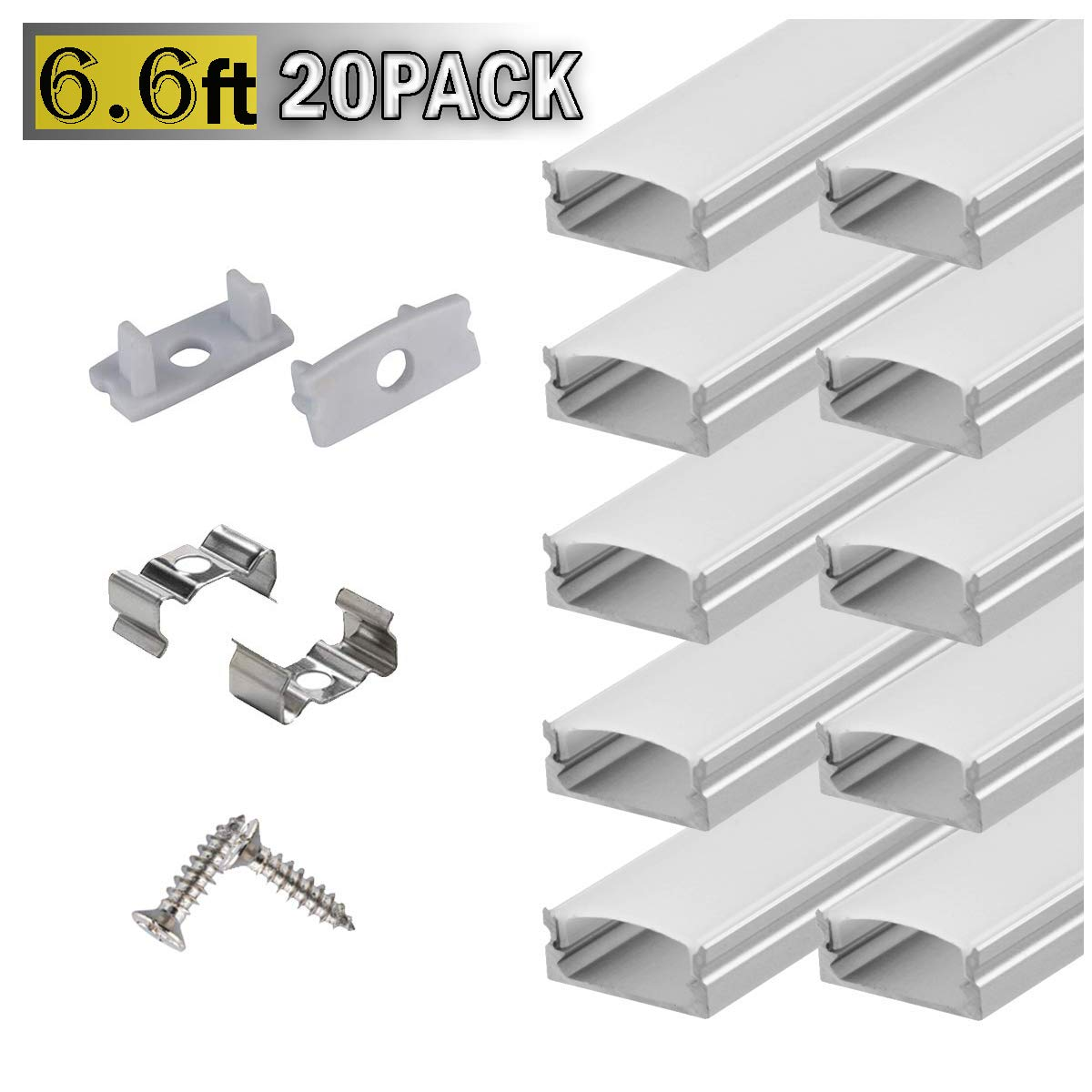6.6ft/ 2m LED Strip Channel 20-Pack with Milky Cover, End Caps and Mounting Clips, Aluminum LED Profile for Installing LED Rope Light