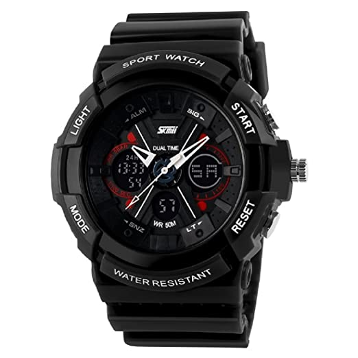 cd920ef9c Image Unavailable. Image not available for. Colour  Skmei Sports Analogue- Digital Black Dial Men s Watch ...