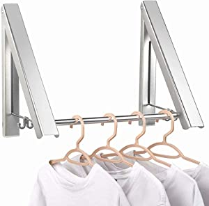 IN VACUUM Clothes Drying Rack Folding Indoor, Folding Drying Racks for Laundry Room Closet Storage Organization, Aluminum, Easy Installation (2 Racks with Rod, Sliver)