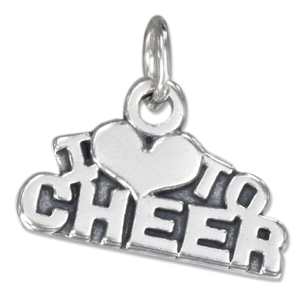 Sterling Silver Antiqued ''I Heart To Cheer'' Charm