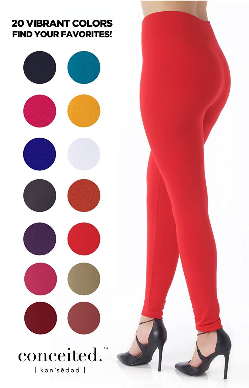 Premium Warm Fleece Lined Leggings High Waist Tights - Regular and Plus Size - 20 Colors