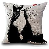 Axgo Funda de Almohada con diseño de Dibujos Animados de Gato, Lino y algodón, Cuadrada, Fundas de cojín estándar, para sofá,
