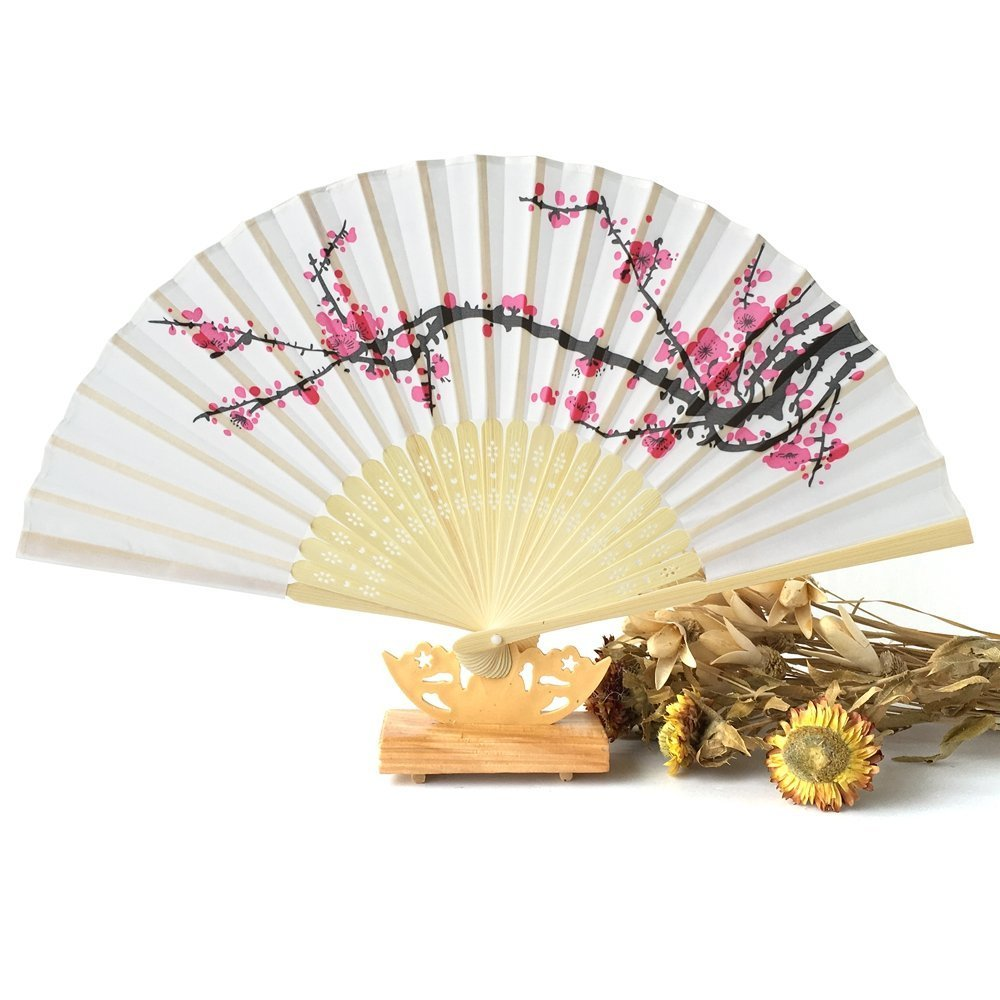 DierCosy 1 pcs Womens Hand Fans Handheld Folding Fans Cherry Blossom Bamboo Fans