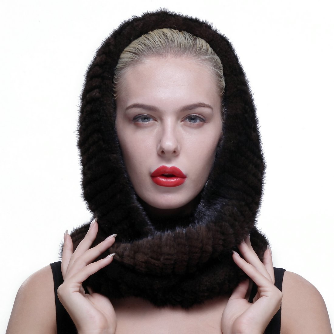 URSFUR Authentic Knit Mink Fur Infinity Hood Scarf Multicolor Shijiazhuang Starway Imp/&Exp Trading Co .Ltd GCID-2016-S-05-1