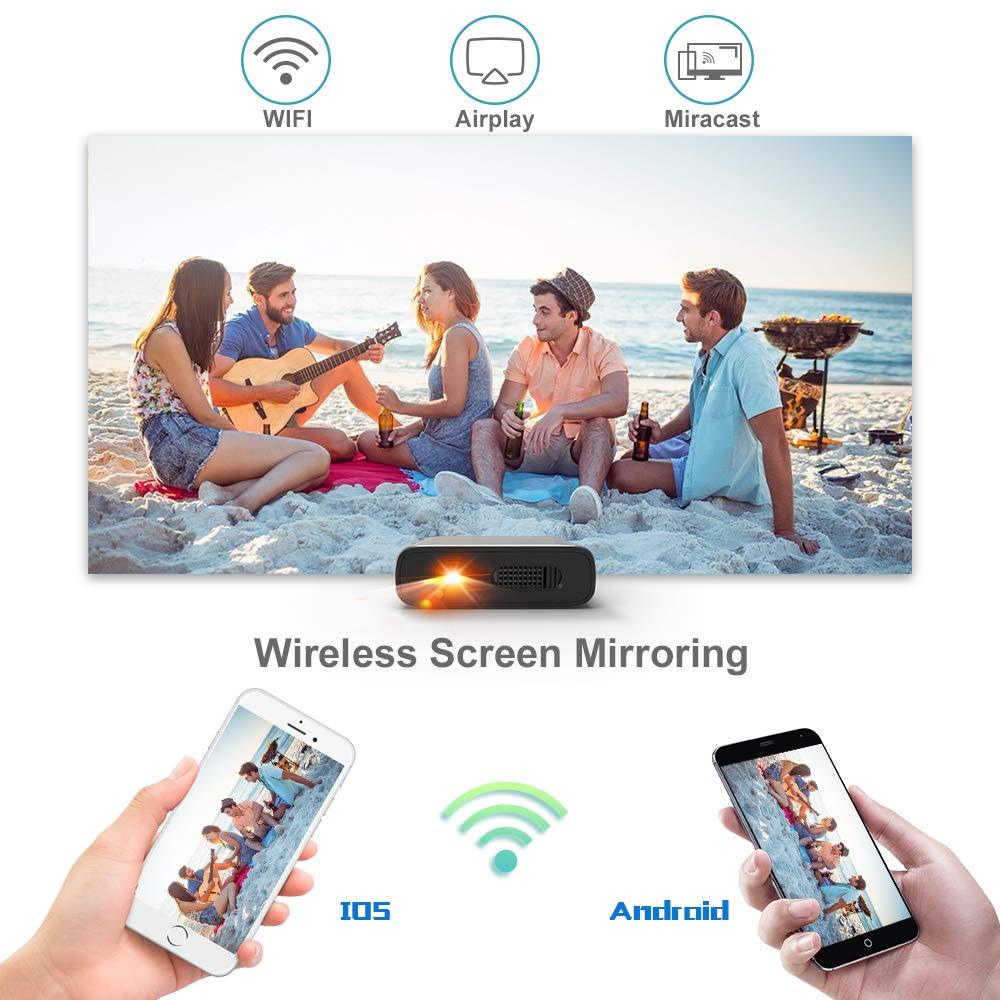Proyector Portátil WiFi- Artlii Mana Mini Proyector DLP, Batería Recargable para Películas y Fiestas al Exterior, Compatible con iPhone Android