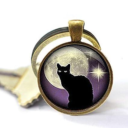 Llavero negro con gato negro y morado, llavero con gato ...