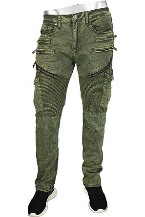 0e3efcf94e6b66 Jordan Craig Moto Zip Aaron Slim Straight Fit Men s Pants Army Green ...