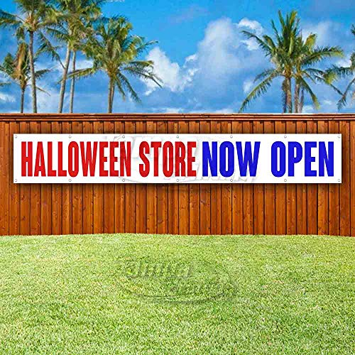 Halloween Store Now Open Extra Large 13 oz Heavy Duty Vinyl Banner Sign with Metal Grommets, New, Store, Advertising, Flag, (Many Sizes -