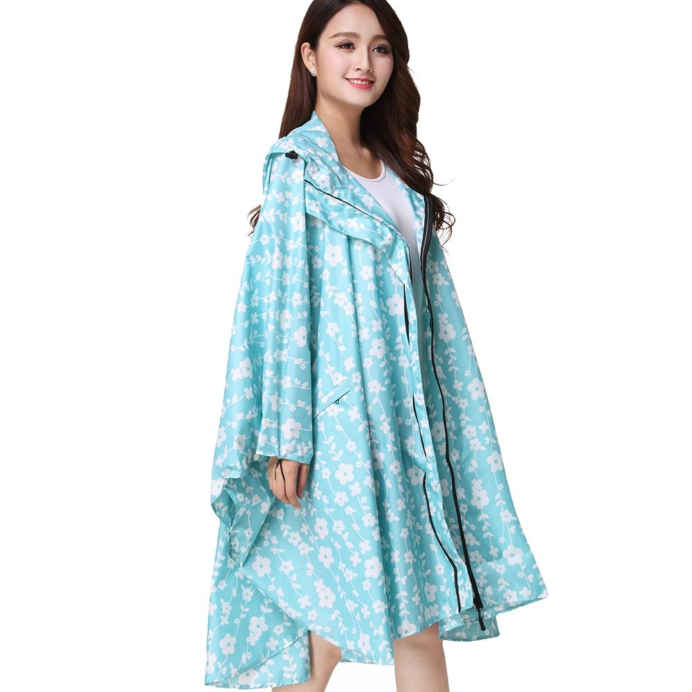Secutey Light bluee White Flower Thin Cape Raincoat Zipper Cycling Poncho Light Large Size Cloak Windbreaker Raincoat