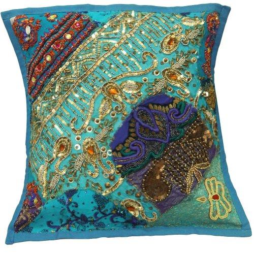 Cuentas Patchwork azul Sofá Cojín étnico Funda de almohada bordada Throw India 17'' pulgadas