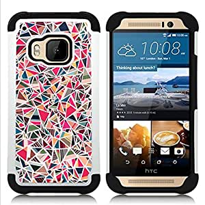For HTC ONE M9 - art shapes geometric girly pink Dual Layer caso de Shell HUELGA Impacto pata de cabra con im??genes gr??ficas Steam - Funny Shop -