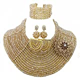 Africanbeads 15 Rows Champagne Gold Crystal Necklace African Wedding Beads Jewelry Set(AB0257)