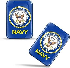 2 x 3D U.S. Navy Military Flag Domed Stickers Waterproof UV Protected Decals Car Motorcycle Helmet F 111