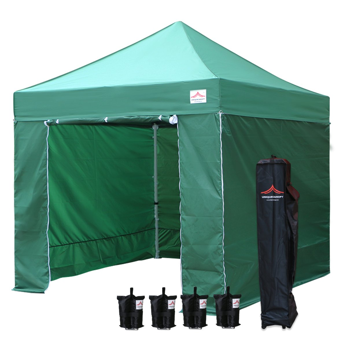 UNIQUECANOPY 10x10 Ez Pop up Canopy Tents for Parties Outdoor Portable Instant Folded Commercial Popup Shelter, with 4 Zippered Side Walls and Wheeled Carrying Bag Bonus 4 Sandbags Dark Green
