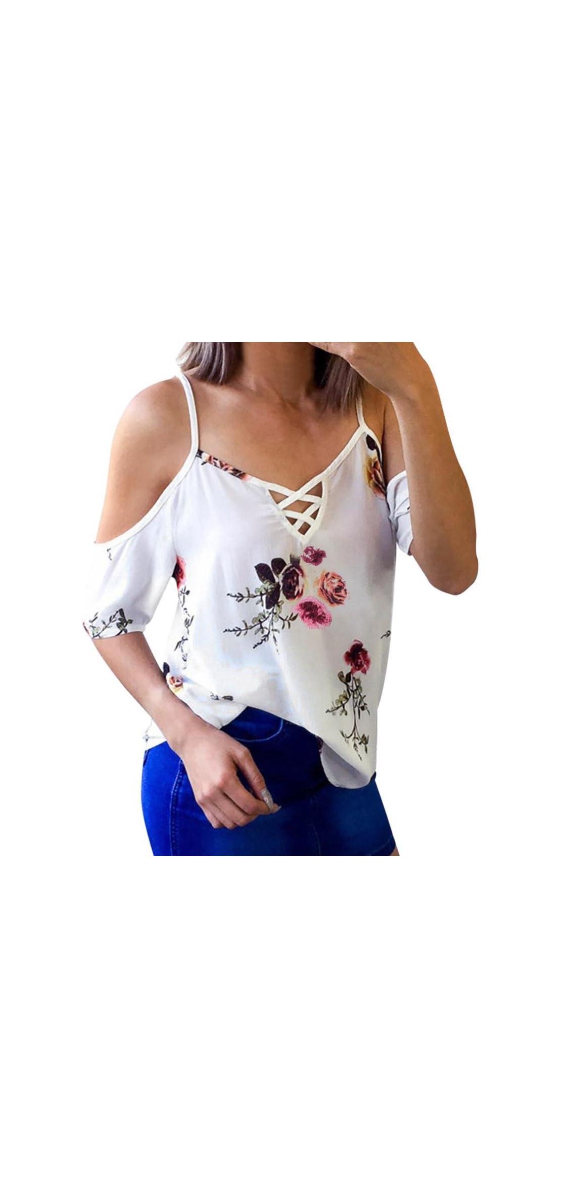 Women Ladies Floral Off Shoulder T-shirt Short Sleeve
