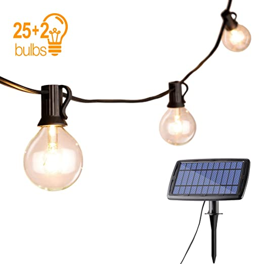 size 40 5d0c4 80cda Solar String Lights Outdoor, Sunix Globe 25ft G40 Garden String Lights  Vintage with Solar Panel,2 Spare Bulbs,Waterproof LED String Lights Outdoor  for ...