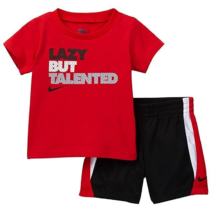 27ae76b73729 Nike Infant Boys Lazy But Talented Two Piece Tee Shirt and Shorts Set  Black Red