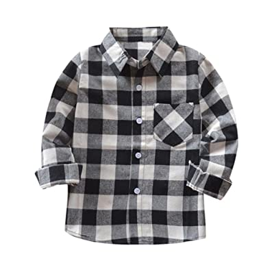 Connia Kids Checks Tops Baby Boys Girls Long Sleeve Plaid Cotton T-Shirt Blouse Clothes Outfits