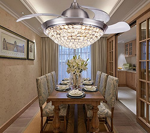 Yue Jia 42 Inch Promoting Natural Ventilation Invisible Fan Modern Luxury Crystal Dimmable (Warm/Daylight/Cool White) Chandelier Foldable Ceiling Fans With Lights Ceiling Fan with Remote Control by YUEJIA (Image #3)