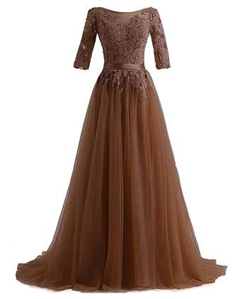 qijunge elegant long evening dresses lace half sleeves formal prom