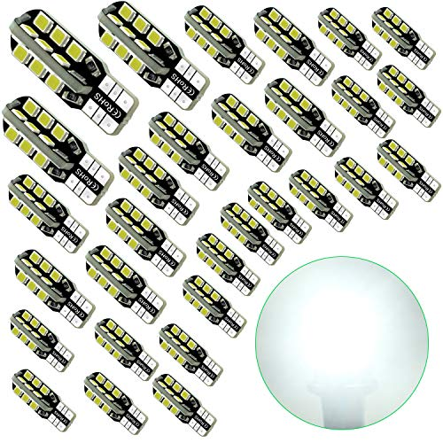 Debonauto-30 x T15 LED Light Bulb Super Bright 6000k 12v T10 921 168 194 Trailer,Boat,RV,Iandscaping & Camper Interior Wedge 24-SMD(Pure White) (921 Replacement Led Bulbs)