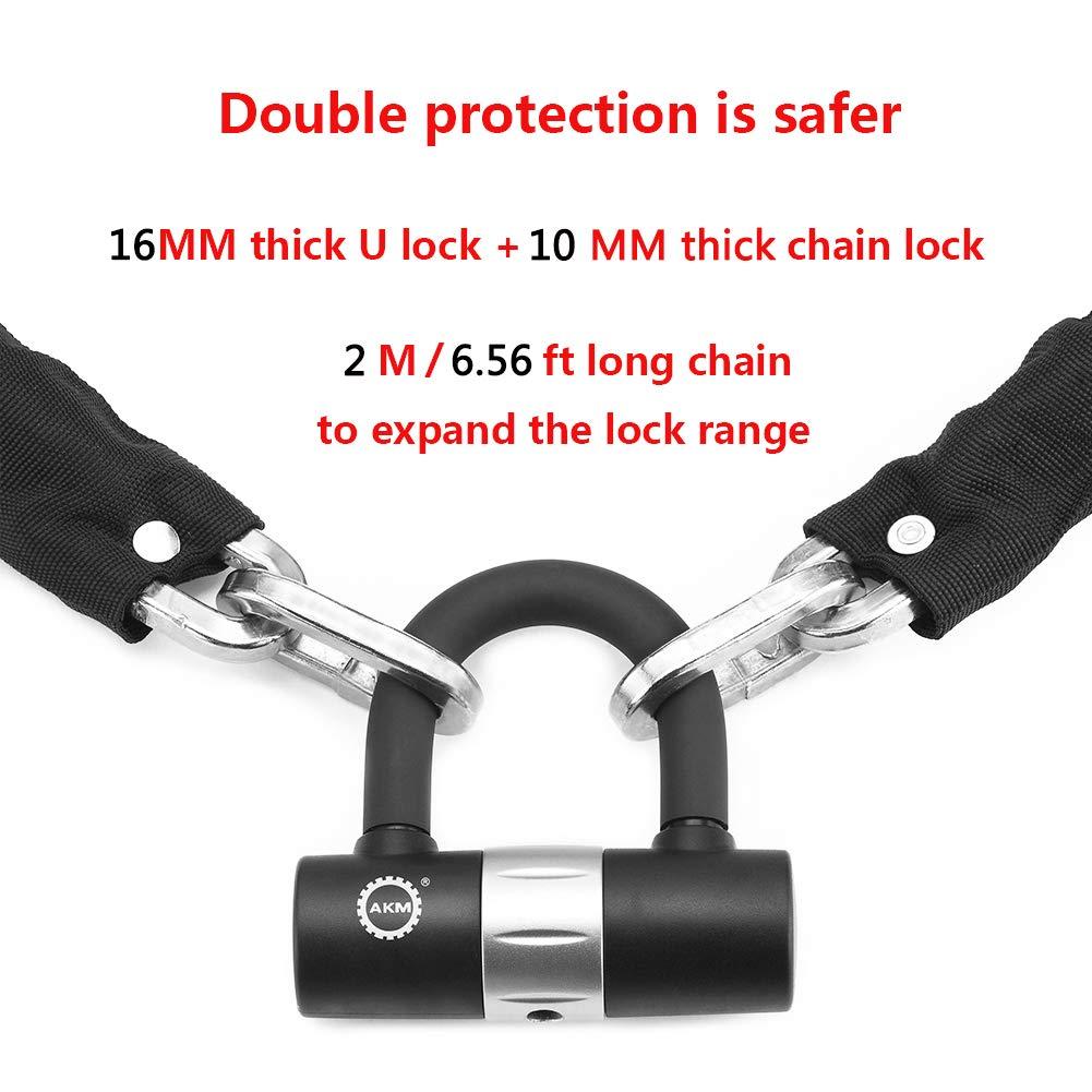 AKM Security Bike Chain Lock Heavy Duty Bicycle Lock Bike Disc Lock with 16mm U Lock,Motorbike Lock Black