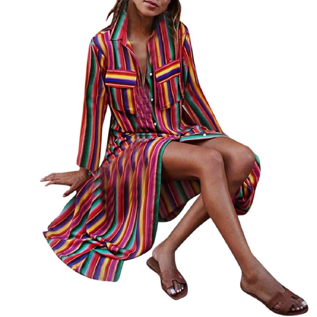 Bkolouuoe Women Multicolor Striped Buttons Lapel Long Sleeve Long Dress Casual Robe Dresses Beach Sundress