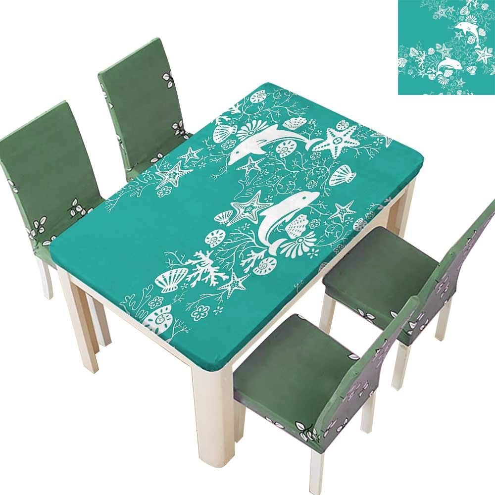 Printsonne Polyester Table Cloth Dolp Flowers Sea Starfis Coral Seashell Wallpaper P Tern Teal Table 54 x 120 Inch (Elastic Edge)