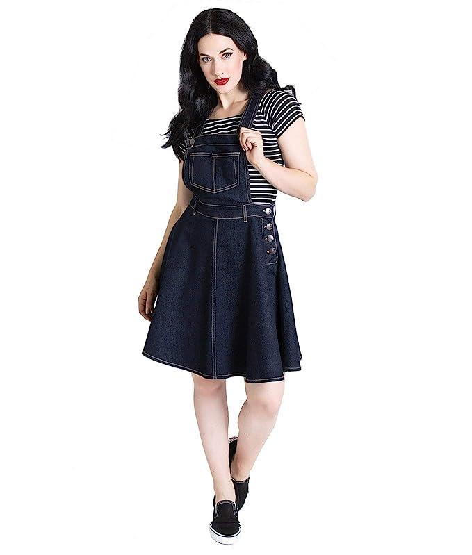 1950 Style Clothing- A Shopping Guide Hell Bunny Dakota Pinafore Dress Medium-Length Dress Black £46.19 AT vintagedancer.com