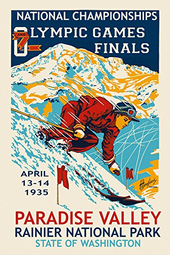 CANVAS Paradise Valley Rainier Park Olympic Ski Skiing Games Washington State Vintage Poster Repro 12