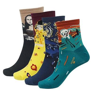 Ziye Shop Pack of 4 Fashion Women And Men Cotton Socks Painting Art Socks Mona Lisa The Scream Starry Night Short Socks Vintage Style