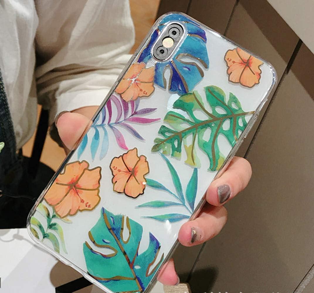 MoreChioce Coque iPhone 6S,compatible avec Etui iPhone 6,Feuille Coque en Silicone TPU Transparent avec Strass Gliter Sparkle Dur Protection Case Feuille Banane Bleu Rigid Cover Bumper Defender