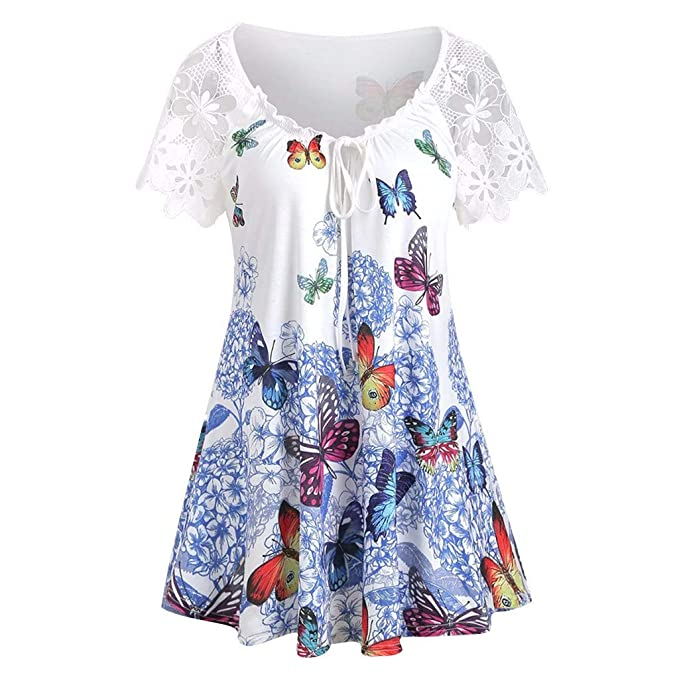 Witspace Women Casual Plus Size Butterfly Printed Loose Button Tunic Shirt Blouse Tops