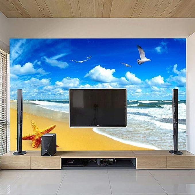 Gtfzjb Paisaje De Playa Personalizado Starfish Blue Sky 3D Photo Background Impreso Por Computadora Sala De Estar Tv Fotografía Telón De Fondo Mural Wallpaper-200X140Cm: Amazon.es: Bricolaje y herramientas