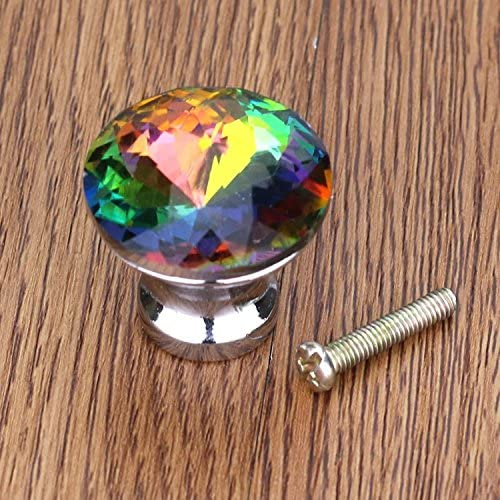 CSKB 20PCS Colorful Crystal Glass Diamond Cut Door Knob Drawer Cabinet Furniture Kitchen Wardrobe Dresser Pull Handle