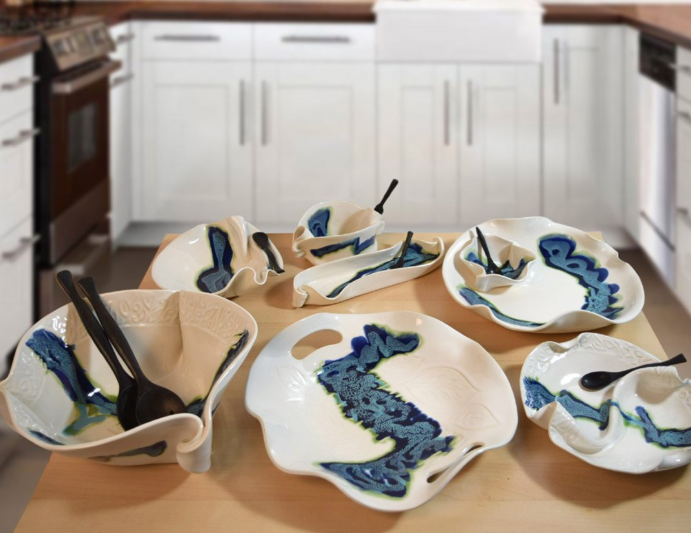 Aurora Collection 2-Piece Handmade Pottery Hors d'oeuvre Appetizer Serving Dish Set in Blue White by Hilborn Pottery (Image #5)