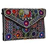 Black Women Banjara Clutch Bag in Rajasthani Style Magenatic Closure Foldover Clutch Purse