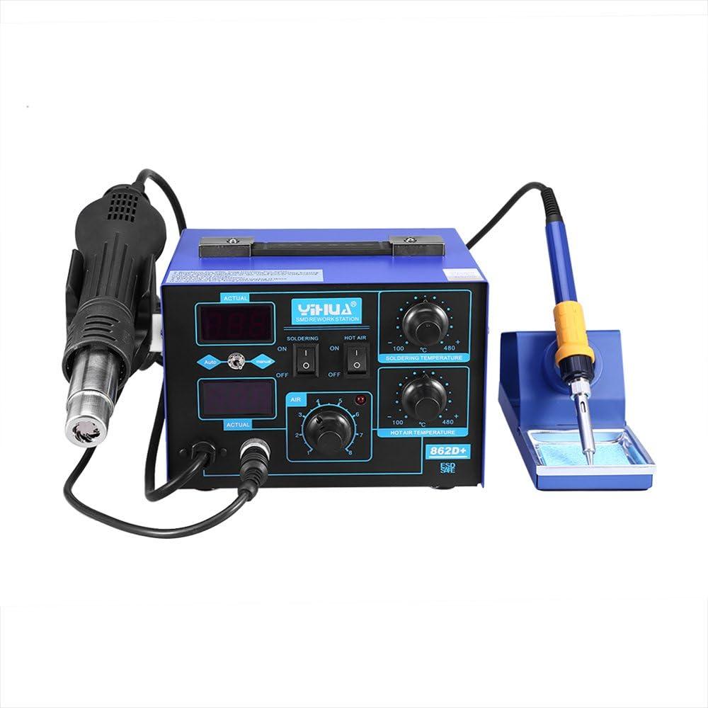 Estacion de soldadura electronica Digital 2 en 1 Kit del Soldador Digital con Pistola de Aire Caliente 862D+