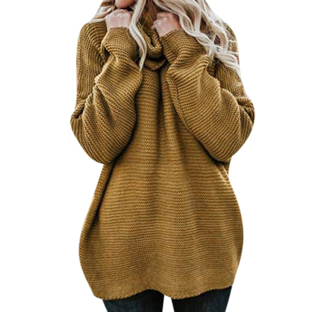 Benficial Sweaters for Women Fashion Winter Women Casual Solid Long Sleeve High Collar Lazy Loose Sweater 2019 New Yellow by Benficial