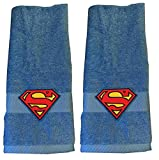 dark grey curtains next Superman Embroidered Hand Towel ~ Blue ~ Set of 2