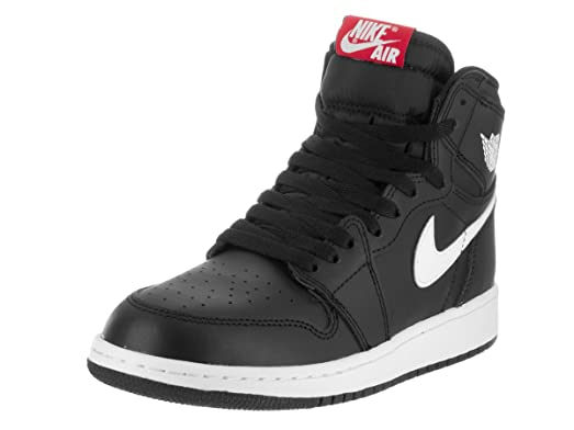 Jordan Nike Boy's Air 1 Retro High Basketball Shoe Black/White-Black- University