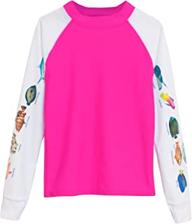 product image for Tuga Girls Snorkeling Caribbean Fish ID Rash Guard, UPF 50+ Sun Protection