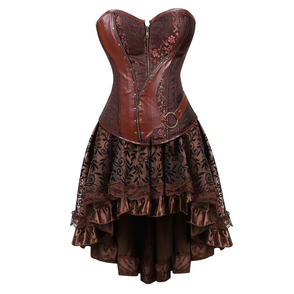 Brown 5829 Grebrafan Wedding Lace up Boned Corset Busiter Top Clubwear Plus Size
