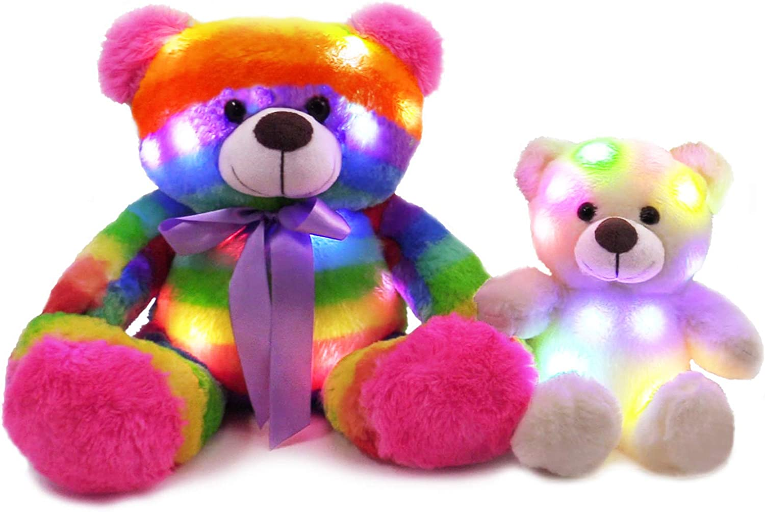The Noodley Light Up Rainbow Teddy Bear Mom & Baby Set Stuffed Animal Plush Sleep Toy for Toddlers, Kids, Boys & Girls, Valentines, Easter, Rainbow 16 and 11 inch (2 Bears)